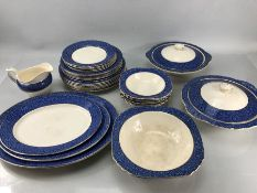 Wedgwood 'Garden' pattern part dinner service, with blue/gold border to include approx six dinner