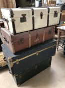 Collection of four large vintage cases and bound trunks