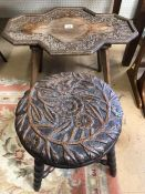 Heavily carved occasional table and stool with floral design and bobbin turned legs
