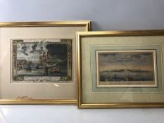 Two framed lithographs of the City of Boston, View of the Attack of Bunkers Hill with the burning of