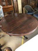Mahogany circular breakfast table on pedestal base