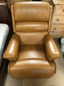 Butterscotch leather reclining armchair by Sherborne