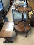 Circular burr walnut coffee table on ball and claw feet, an oak side table and a circular wine table