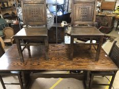 Oak refectory style table with four chairs, table approx 183cm x 80cm x 76cm tall