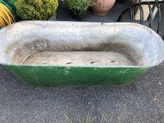 Large galvanised trough / bath, approx 140cm x 52cm x 37cm tall