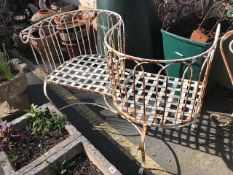 Outdoor white painted metal love seat, approx 105cm wide