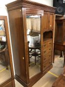 Victorian Gentleman's wardrobe with hanging rail, five drawers and cupboard with internal shelf