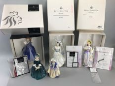 Collection of Five Royal Doulton Figurines, three in original boxes with paperwork