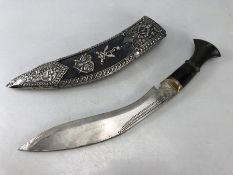 Nepalese Gurkha presentation Kukri with horn hilt, brass pommel, complete with companion knife and