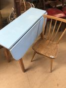 Mid Century blue-topped kitchen table and single stick back chair in the Ercol style