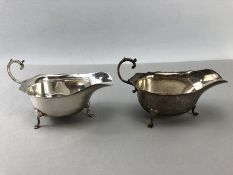 Pair of hallmarked Silver sauce boats Birmingham by maker Walker and Hall approx 180g