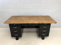 Twin pedestal American metal desk with pine desk top