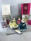 Collection of seven Royal Doulton and Royal Albert figurines two Boxed with original paperwork
