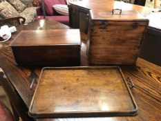 Wooden butlers tray with metal handles along with two antique wooden boxes