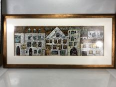 Large Framed Mixed media Art work depicting a European street scene signed Lower right approx 90 x