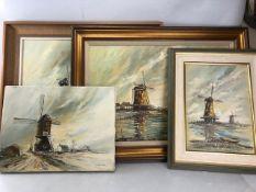 Collection of four oil paintings by WYN APPLEFORD (1932-2016), windmill scenes, three framed: approx