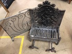 Antique fire grate with incorporated fire back, two fire dogs and a wrought iron mesh fire screen