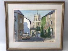 David Clarke: Original watercolour 'Colyton', approx. 36cm x 28cm, signed lower right '98