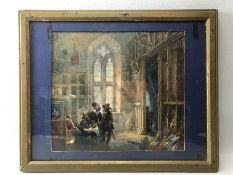 SAMUEL RAYNER (1806-1879) 'Cavaliers at Manor House Table' signed with monogram and indistinctly