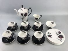 Royal Albert ''Masquerade'' Teaset to include six cups and saucers, six side plates, teapot, milk