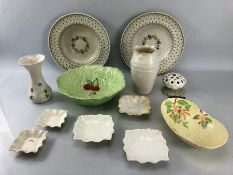 Collection of Ceramics and China to include Belleek, Royal Worcester, etc