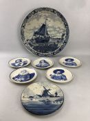 Collection of Delfts Blauw and Delftware to include large plate with coastal scene