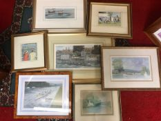 Good collection of watercolours and limited edition prints, nicely framed to include Ron Cosford,