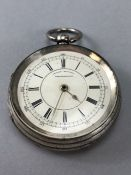 A substantial silver chronograph pocket watch by J. Richardson, Coventry, signed to inside F.W.