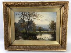 Oil painting of a river scene attributed to E or B Fisher (notes to reverse) and also noted to
