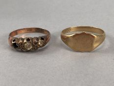 Two 9ct 375 Gold rings A/f approx 3.9g