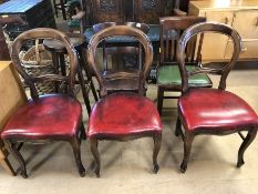 Collection of substantial chairs to include large Victorian balloon backs, two further chairs and