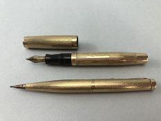 Pens & Pencil: 9ct 375 Parker Propelling pencil and 9ct 375 Parker fountain pen