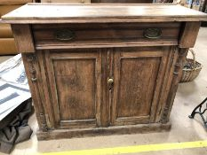 Vintage oak dresser base with brass fitments to single drawer and cupboard under