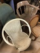 Collection of vintage chairs to include Lloyd Loom style nursing chair with sprung feet, Windsor