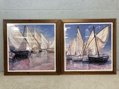 Pair of large framed prints of sailing boats, approx 93cm x 93cm (inclu. frame)
