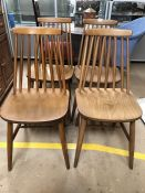 Set of mid Century stick back chairs, four in total