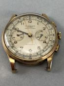 WATCH BY CHRONOGRAPHE SUISSE, the circular signed silvered dial with gilt numerals, subsidiary dials
