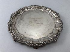 Solid Silver engraved tray on three scroll feet Hallmarked Birmingham by maker Joseph Gloster Ltd