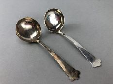 Pair of small Silver Ladles Hallmarked Birmingham Walker & Hall (approx 53g) approx 13cm long