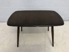 Single Mid Century dark wood coffee table in the Ercol style