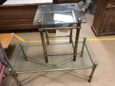 Brass framed coffee table, approx 110cm x 56cm x 45cm tall and a matching brass framed side table