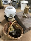Eccles Type 6 'M & Q' Miners Lamp and a collection of vintage items to include brass bell, oil lamp,