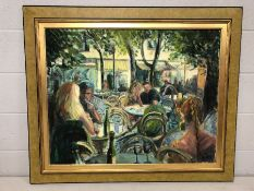Large oil on canvas of a French Menton outdoor café society scene approx 91 x 72cm, signed Danes,