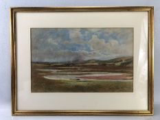 Early 20th century Watercolour unsigned depicting a countryside scene with shepherd and sheep