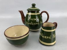 Small collection of Longpark Torquay pottery to include teapot, jug and sugar bowl, in green and