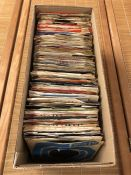 """Box of approx 150 miscellaneous 7"""" singles mostly 60s & 70s."""