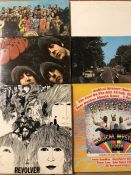 """6 The Beatles LPs. Including """"White Album"""" (Italian pressing), """"Abbey Road"""" (French pressing), """""""