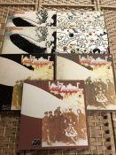 """7 Led Zeppelin LPs inc. 2 copies of """"Led Zeppelin I"""" (UK & US green & orange Atlantic), 3 copies"""