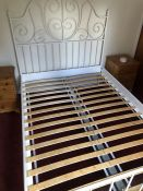 White painted double metal bed frame (bed 9)