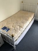 Single white painted metal bed and mattress (lot 2)
